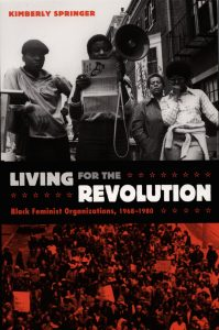 book cover for living for the revolution featuring woman speaking at a rally